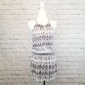 Joie Soft gray white ikat print sleeveless dress